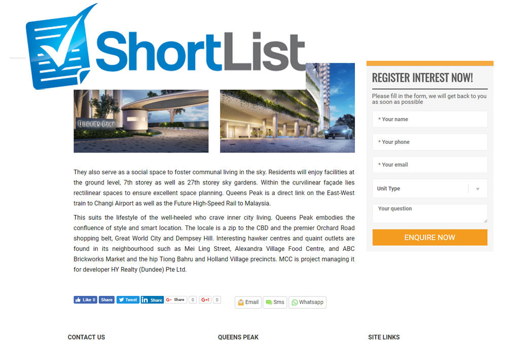 create a short list on your property website